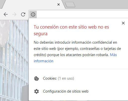 Mensaje en Google Chrome de web no segura